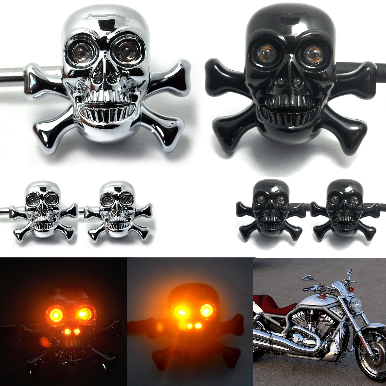 2pcs Universal Motorcycle Front&Rear LED Black Custom Skull Turn Signal Light Fits For Harley Crusier Chopper Moto(China (Mainland))
