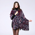 New Autumn European Winter Women Ponchos And Capes Coat Fashion Wool Shawl With Fake Fur Female
