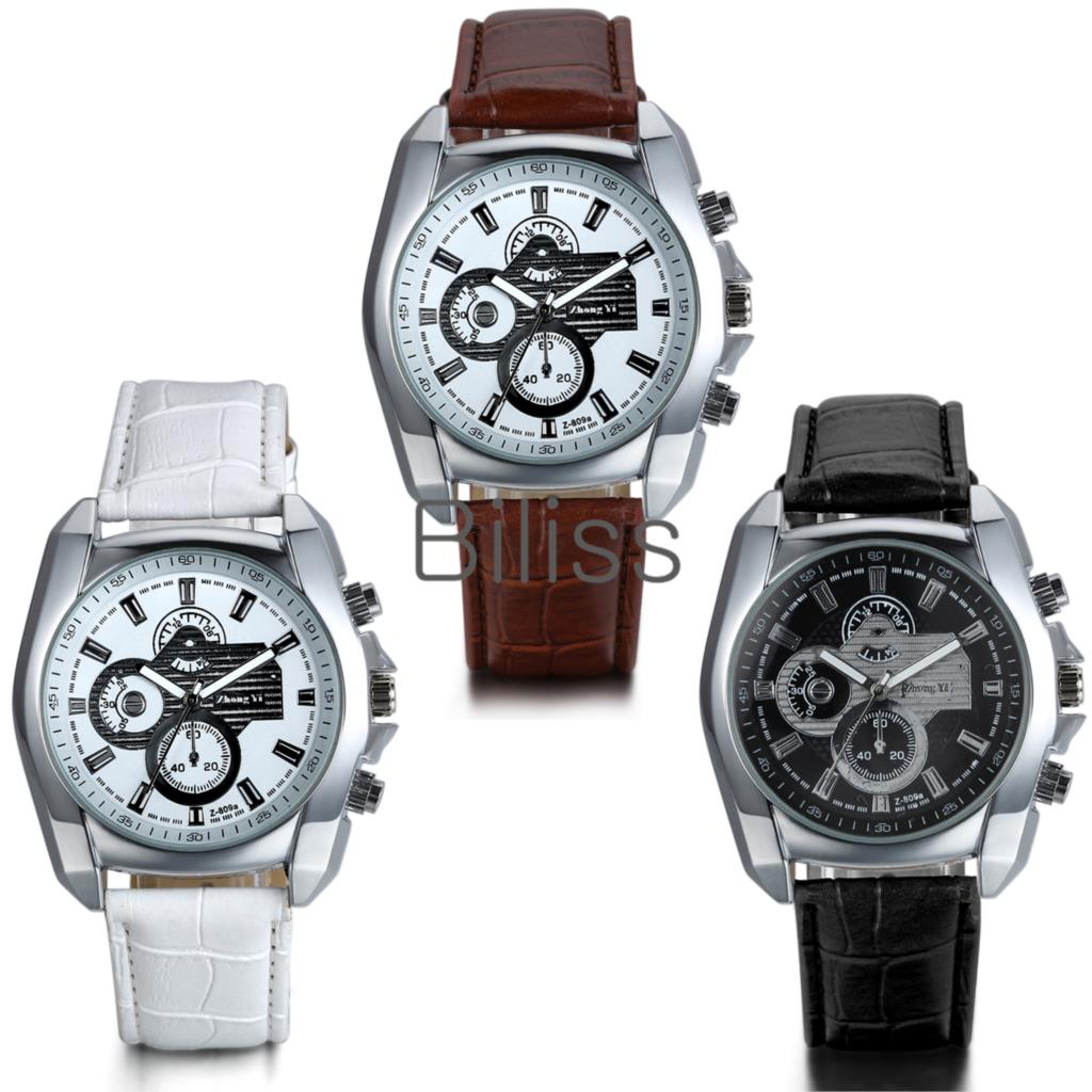 Luxury Brand Genuine leather band Watch Men Montre Homme relogio masculino Quartz Movement relojes reloj hombre Colors Selection(China (Mainland))