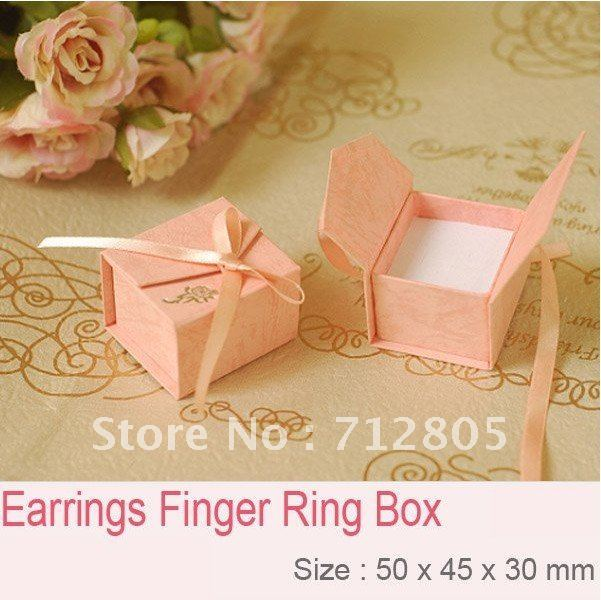 Wholesale 48pcs/lot Pink Finger Ring Box 50x47x33mm Jewelry Box Ring/Earring Packaging Gift Box Free Shipping