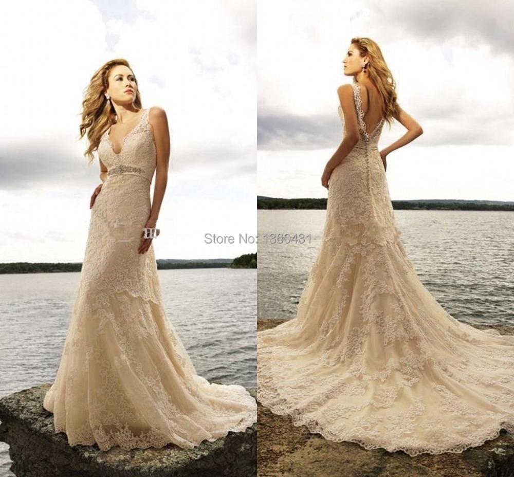 Unique Stylish Wedding Dresses : Unique fashion elegant v neck bridal gowns a line backless wedding