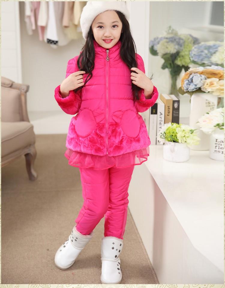 Скидки на 3 шт./компл. детей зимняя одежда установить хлопка мягкий верхняя одежда жилет + с длинным рукавом + брюки дети девушки теплый открытый костюмы
