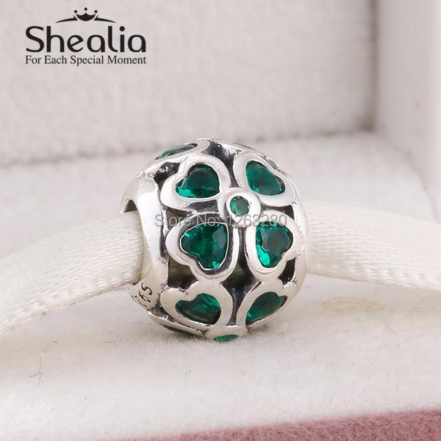 Весна коллекция аутентичные 925 чистое серебро клевер подвески-талисманы с тёмный зеленый cz подходит своими руками браслет SH0619