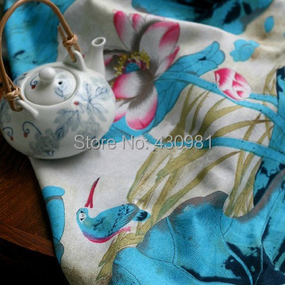 blue birds lotus print linen fabric crafts linen cotton material home decor curtain table cover telas upholstery textiles(China (Mainland))