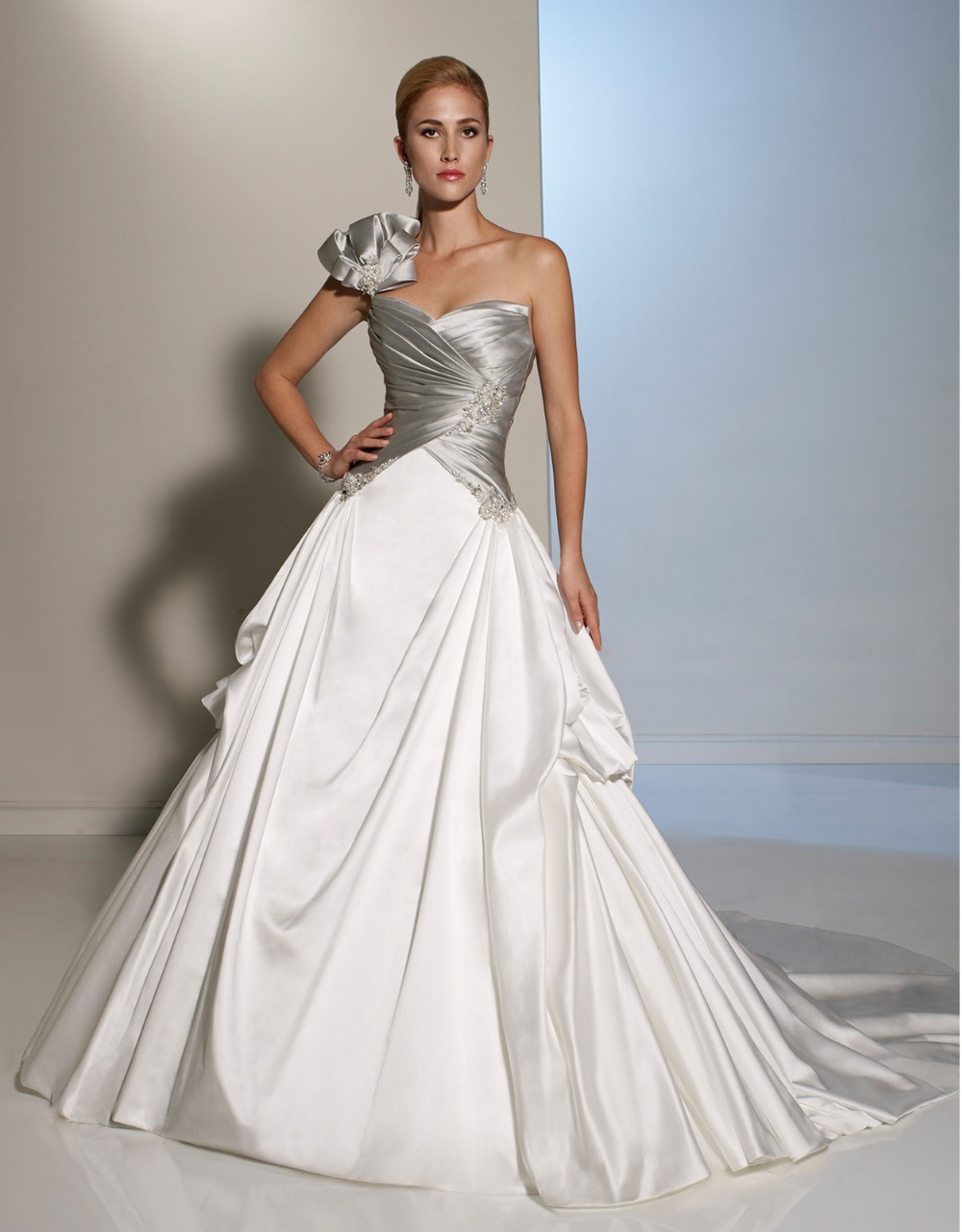 Elegant long white and silver one shoulder gothic wedding for White elegant wedding dresses