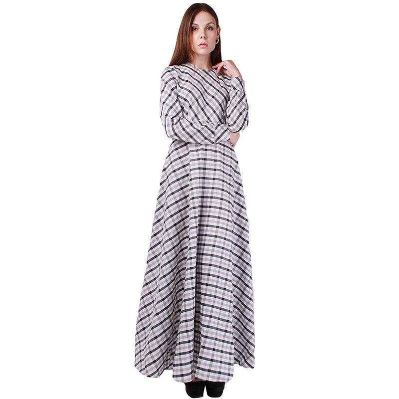 Long dress lady 2016 spring women a line plaid dress round neck long