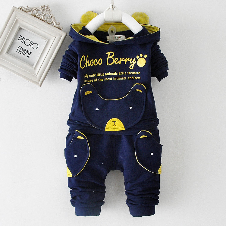 Free Shipping Winter Children's Clothing Suits Little Bear Kids Coverall Children Cute Suit Boys Girls Clothes Set Retail(China (Mainland))
