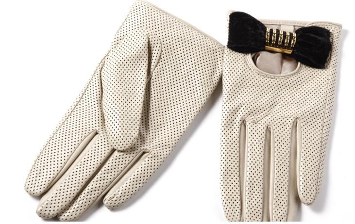 Thin sheepskin gloves women's autumn/winter brief paragraph ol elegant lovely silk inside female leather bow - Online Store 214194 store