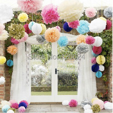 20cm=8 inch 15pc / lot Tissue Paper Flower Ball lanterns holiday festive supplies Party Decor Craft For Wedding Decoration color(China (Mainland))