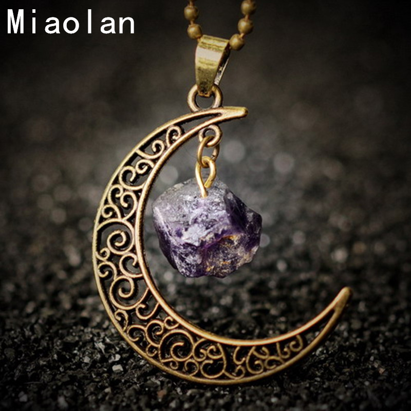 Vintage Moon Necklace Irregular Natural Stone Pendant Necklaces Amethyst Rose Quartz Crystals Antique Bronze Chains Jewelry(China (Mainland))