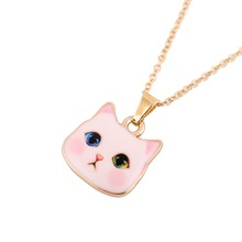 2016 Bohemian New Arrival Colorful Cute Animal Necklace Pitiful White Cat Head Necklaces for Women Fashion Lovers Jewelry(China (Mainland))
