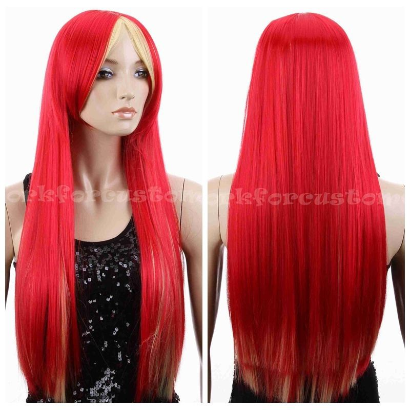 Ohyes 2015 Women Long Straight Fashion Cosplay Costume Party Full Wig Red Yellow Mix Cosplay Wig  peruca pelucas perruque<br><br>Aliexpress