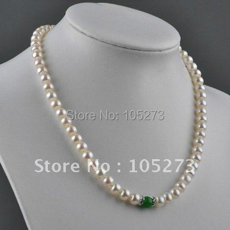 Nice! 18inch Pearl Necklace AA 7-8MM White Color Genuine Freshwater Pearl Green Jade Necklace Fashion Jewelry New Free Shipping