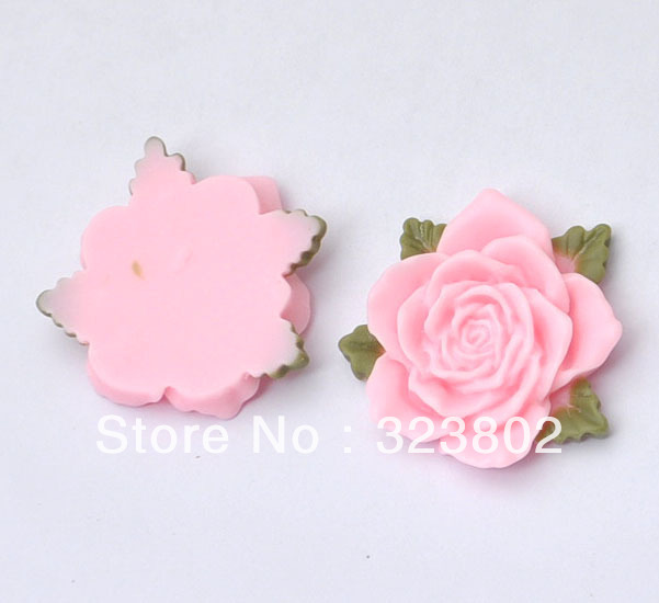 30MM Pink Flower with Leaf Flatback Resin Cabochon Cell Phone Case DIY Handmade Decoration Accessory 12PCS