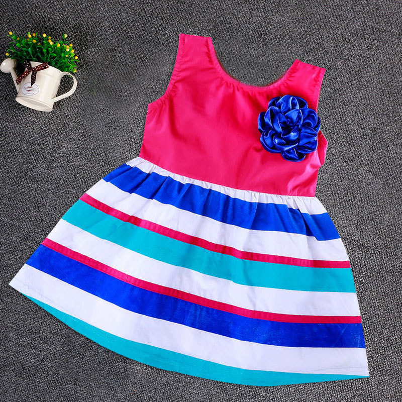 2015 Girls Colorf Cloth Flowers Striped Cotton Dress Catimini Baby  Beach  Lace Toddler Kids Cinderella Summer Tutu Clothing<br><br>Aliexpress