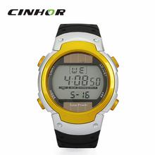 Para mujeres y hombres reloj deportivo con energía Solar luz de fondo Digital reloj de pulsera w / alarma / cronómetro – negro + amarillo ( 1 x CR2025 )