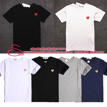 New Comme des garcons CDG play 2015 summer Classic red golden heart black white grey blue Short Sleeved Cotton t – shirts s – xl