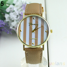 Fashion Women Men Classic Geneva Stripes Print Leatheroid Analog Quartz Dress Wrist Watches 01NS 2UQL