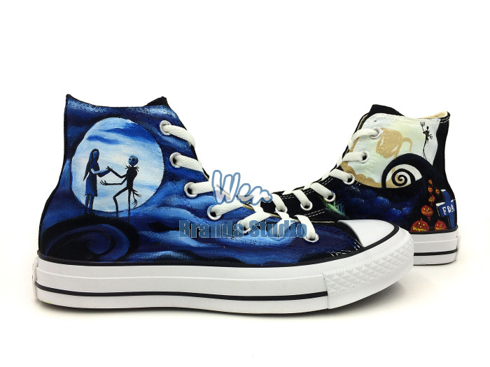 2015 New Fashion Cute Nighmare Before Christmas Hand Painted Shoes Men Women High Top Blue Canvas Shoes(China (Mainland))