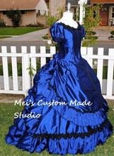 Blue Taffeta the Vampire Claudia's Gothic Victorian Gown/Party Dress/Wedding&Bridal Dress/Event Dress