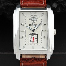 Elegant Goer Men Rectangular Case Fashion Multifunction Dial Date Leather Band Sport Business Automatic Mechanical Watch