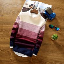 The new 2016 autumn/winter turtleneck sweater Men's stripes round collar sweater(China (Mainland))