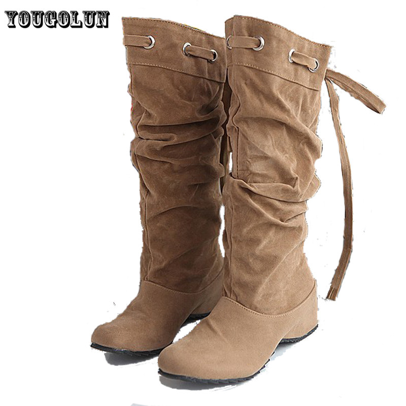soft PU nubnck leather Black,Yellow,beige,Brown round toe women riding high knee boots,2014 new autumn spring ladies shoes<br><br>Aliexpress
