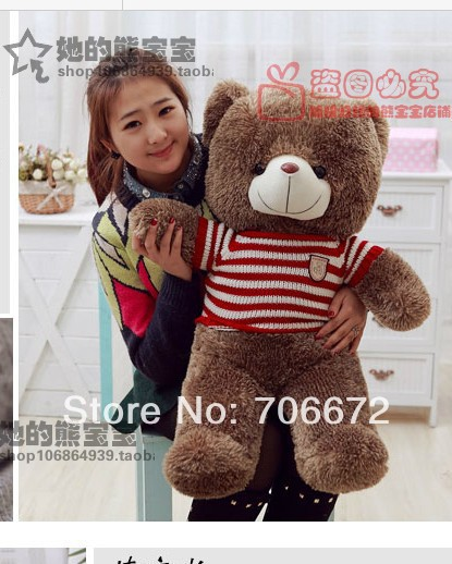 New stuffed red stripes sweater teddy bear Plush 100 cm Doll 39 inch Toy gift wb4252(China (Mainland))