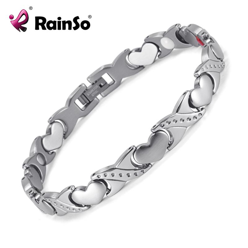 RainSo Lover's Titanium Magnetic Bracelet Germanium Negative Ion FIR Romantic Style Lover's Gift Women Men Bracelets(China (Mainland))