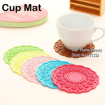 10 pcs/Lot Colored silicone Cup Mat Felt accessories table Kitchen Tea Placement Coaster Crochet Novelty households Gift 8502
