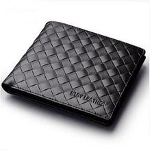 Brand Men Wallets Genuine Leather Wallet Carteira Masculina Men Leather Woven Wallet Male Purse Porte Monnaie & Billetera Hombre