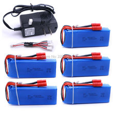5 pcs batteries+charger2500mAh 7.4V 25C Quadcopter Drone Syma X8C X8W X8G RC Li-polymer Battery 903475 Toy Lithium Battery