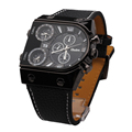 Men s Watches Cool Sports Casual Quartz Wristwatch Leather Strap Oversize Military Compass Dial 2 Time