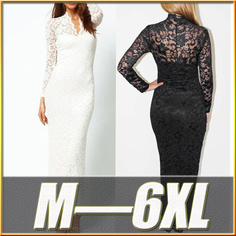Free shipping women dress plus size 6l long lace dress plus size women clothing white black vintage dress online shop clothing(China (Mainland))