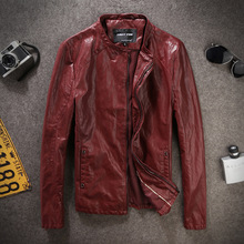 2016New male genuine leather short slim clothing design stand collar casualmotorcycle leather jacket Men casual Leather clothing(China (Mainland))