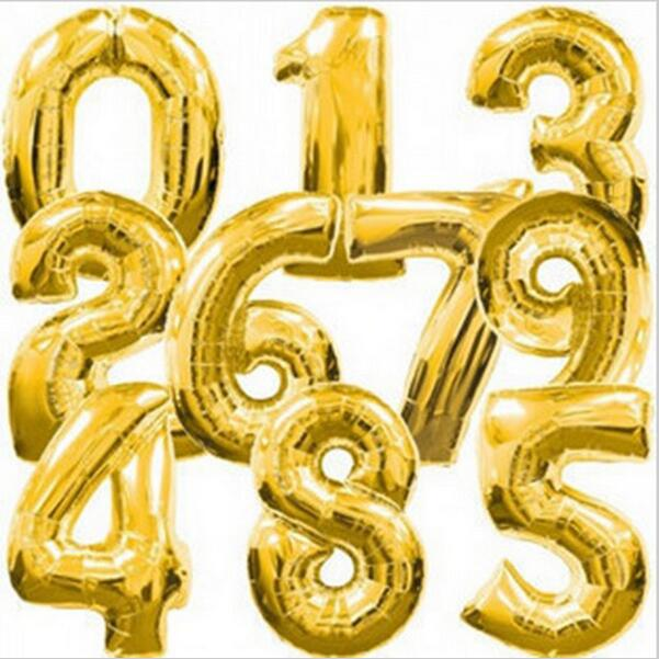 40 Inch Gold Number 0-9 Wedding Foil Balloons Kids Birthday Party Supplies Baby Shower Decorations Event & Party Supplies(China (Mainland))
