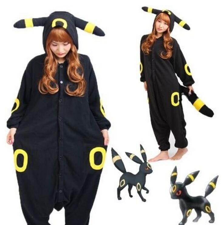 New Kigurumi font b Pokemon b font font b Go b font Umbreon Romper Fleece Pajamas