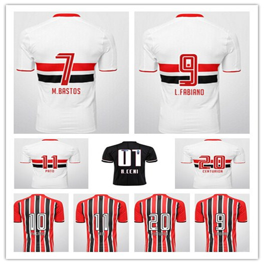 Top!best Thailand Quality Sao Paulo 15 16 home away Soccer Jersey,Sao Paulo 2016 PH Ganso L.Fabiano PATO Retro football shirt(China (Mainland))