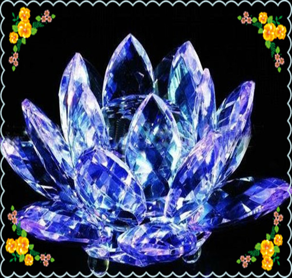 80*45mm Feng Shui Deep Blue Crystal Lotus Home Decoration Safest Package Reasonable Price - Yiwu Weier Shop store