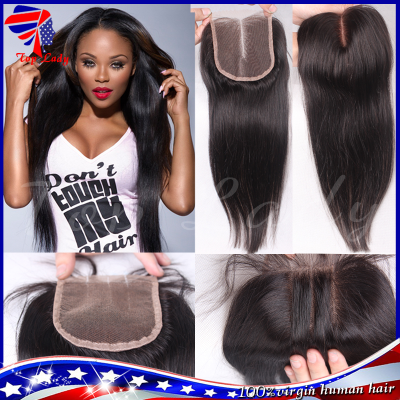 7A Cheap Brazilian Lace Closure Bleached knots Virgin Human Hair Brazilian Straight Closure,Free Mid 3 Part Lace Front Closures(China (Mainland))