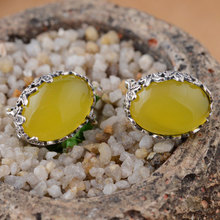Buy 925 Sterling Silver Earrings Women Round Vintage earings S925 Silver boucle d'oreille Natural Yellow chalcedony Stud Earring for $26.66 in AliExpress store