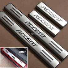 Stainless Steel Side Door Sill Cover / Scuff Plate Trim 4Pcs/Set For Hyundai Accent 2006 2007 2008 2009 2010 2011 2012 2013(China (Mainland))