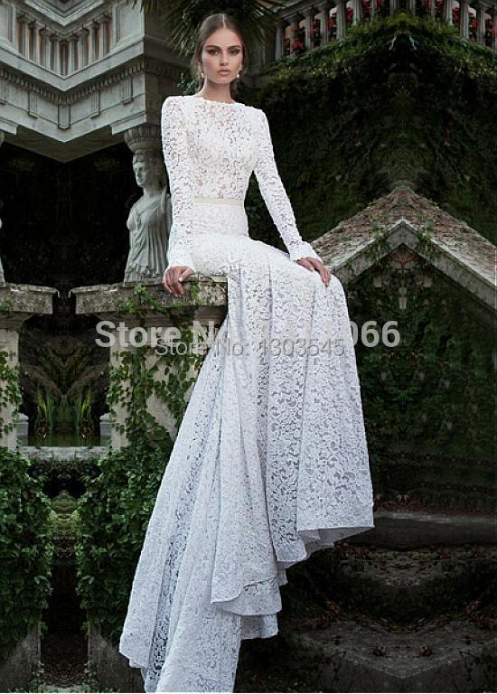2015Romantic Lace & Tulle Bateau Natura Mermaid Backless Wedding Dresses with long sleeves(China (Mainland))