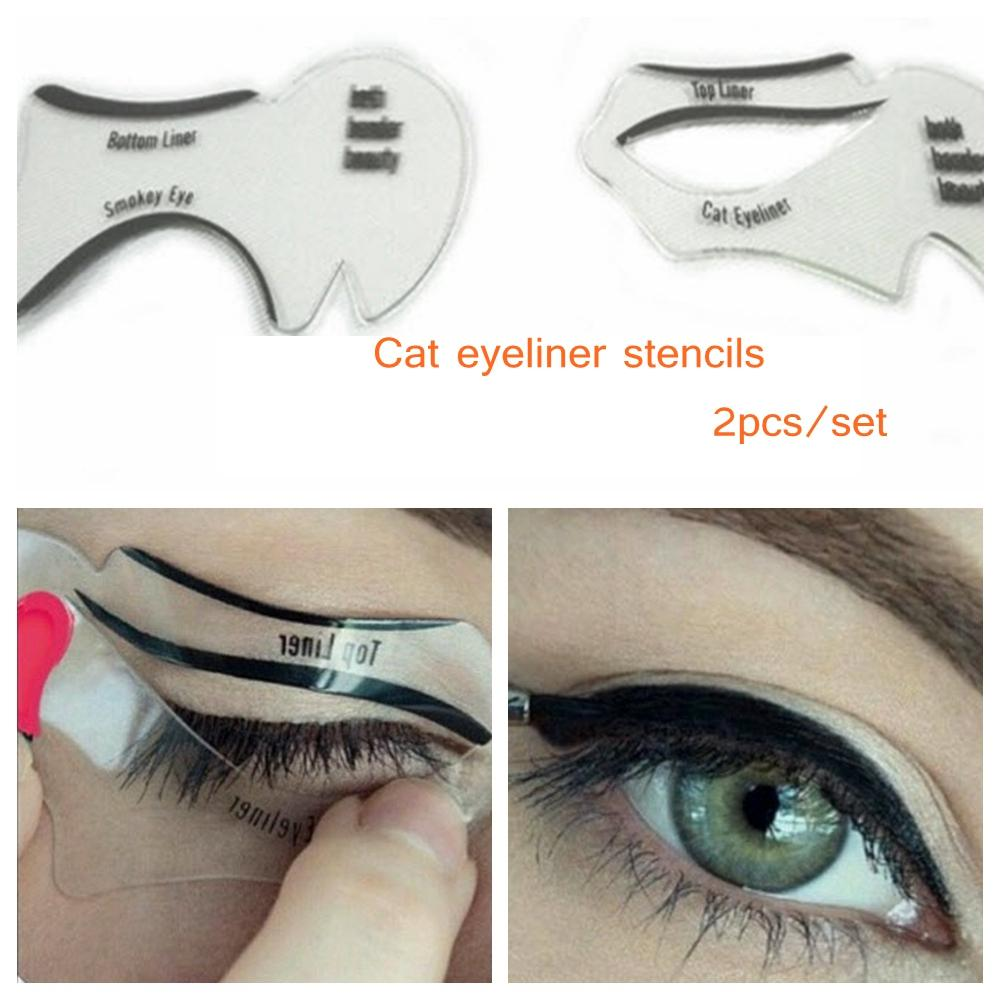 Pcsset New Style Cat Eyeliner Stencil Kit Smokey Eyeshadow Model - Eyeshadow template