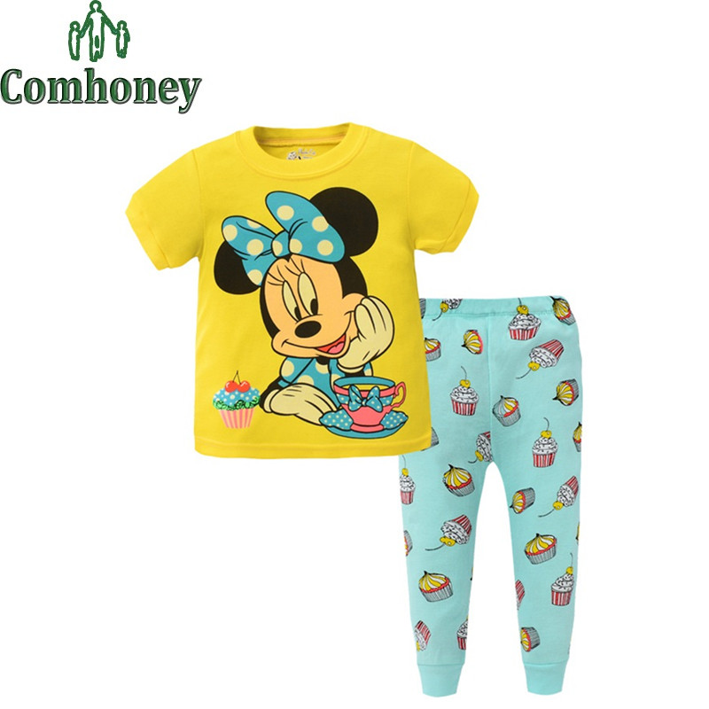 Minnie Mouse Kids Pajamas Short Sleeved Summer Minion Boys Girls Pyjama Spiderman Children Pajamas Sets Baby Sleeping Wear(China (Mainland))