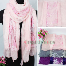 Chiffon Stitching 2 Article Artifical Rabbit Fur Lace Floral Sequins Long Scarf