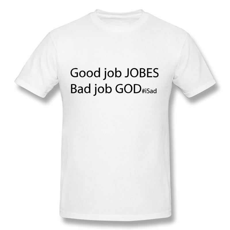 Slim Fit Mens T Shirt God Job vs Good Jobs - Steve Jobs tribute Design Own Slim Fitted Man T Shirts(China (Mainland))