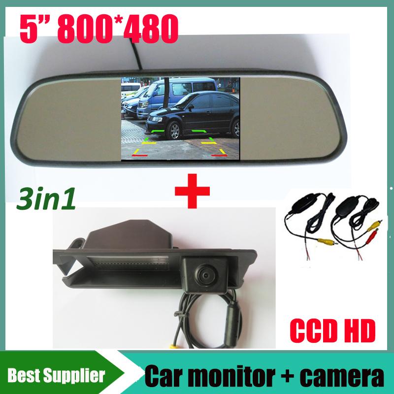 """5"""" car mirror monitor LCD TFT + car rearview parking backup camera for Nissan March Renault logan Sandero night vision(China (Mainland))"""
