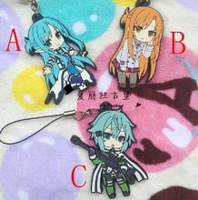 Sword Art Online Anime Kirito Asada Shino Asuna Yuuki Rubber Resin Keychain Pendant
