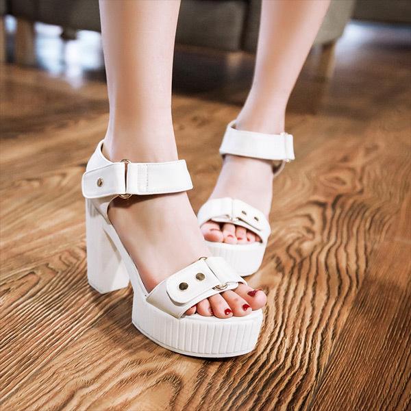 New Arrivals 2015 Summer simple casual and comfortable platform sandals womens sandals hoof heels Belt buckle sandals E012<br><br>Aliexpress
